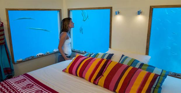 Unterwasserschlafzimmer im Luxushotel