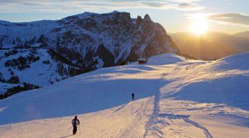 Wunderschönes Bild, Abendstimmung im Winter auf der seiser Alm
